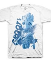 Tričko Guardians of the Galaxy 2- I am Groot, bílé