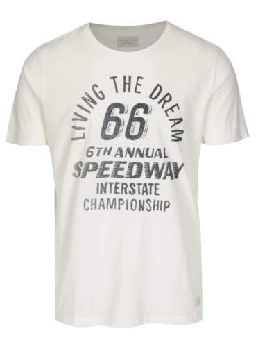Krémové tričko s potiskem Selected Homme Mike