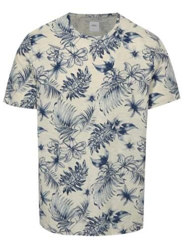 Modro-šedé žíhané tričko s květovaným potiskem Burton Menswear London