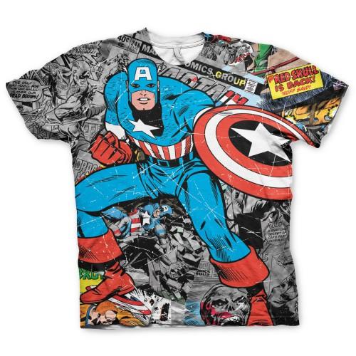 Tričko Captain America Comic Allover