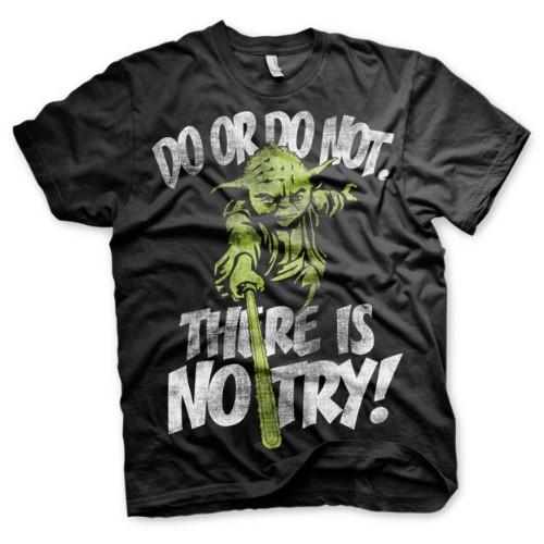 Tričko Star Wars There Is No Try – Yoda, černé