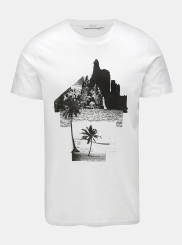 Bílé tričko s potiskem Jack & Jones Collage