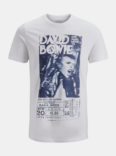 Bílé triko s potiskem Jack & Jones Rocked