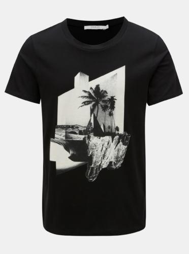 Černé tričko s potiskem Jack & Jones Premium Collage