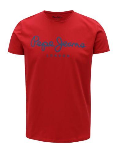 Červené pánské slim tričko s potiskem Pepe Jeans Original stretch