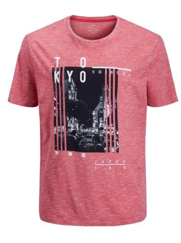 Červené žíhané regular fit tričko s potiskem Jack & Jones Feedercity