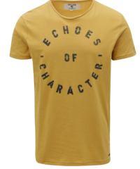Hořčicové pánské tričko s potiskem Garcia Jeans