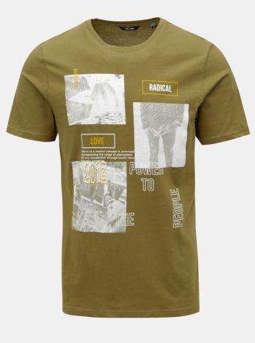Khaki tričko s potiskem ONLY & SONS