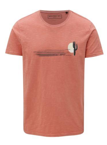 Korálové pánské tričko s potiskem Broadway Deverd