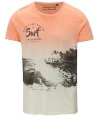 Krémovo-meruňkové pánské tričko s potiskem Broadway Edor