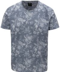 Modré tričko s květovaným potiskem Burton Menswear London