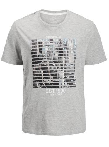 Šedé žíhané regular fit tričko s potiskem Jack & Jones Feedercity