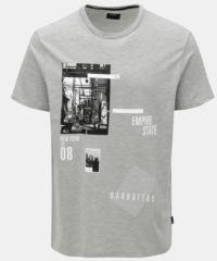 Šedé žíhané tričko s potiskem Burton Menswear London