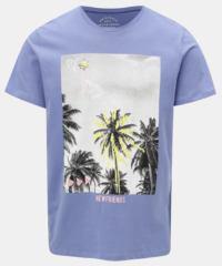 Světle modré slim tričko s potiskem Jack & Jones Rail Road