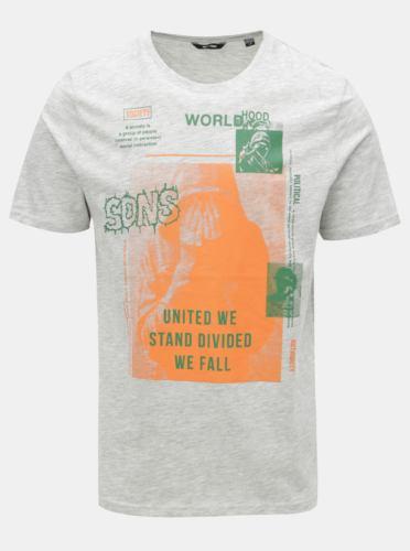 Světle šedé žíhané tričko s potiskem ONLY & SONS