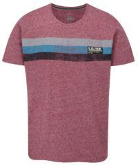 Tmavě růžové pánské žíhané tričko s potiskem s.Oliver