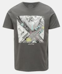 Tmavě šedé regular tričko s potiskem Jack & Jones Rail Road