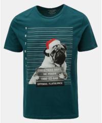 Tmavě zelené tričko s vánočním potiskem buldočka Jack & Jones Xmas