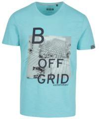 Tyrkysové pánské slim fit tričko s potiskem s.Oliver