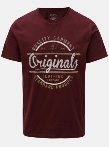 Vínové tričko s potiskem Jack & Jones Vinnie