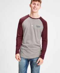Vínovo-šedé pánské lehce žíhané tričko s potiskem Jack & Jones